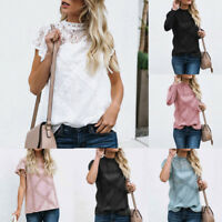 Women Lace Patchwork Flare Ruffles Long/Short Sleeve Floral T Shirt Blouse Top