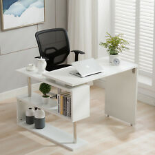 Home Office 360°Rotating CornerComputer Desk Workstation StudyPC TableShelfWhite