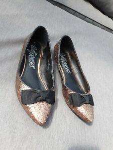 ⭐⭐ M&S PRETTY PUMPS Bronze Gold Glitter Ballet Flats UK6