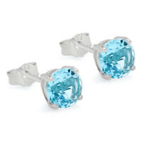 MARCH BIRTHSTONE AQUAMARINE CZ SOLITAIRE STUD EARRINGS ON 925 STERLING SILVER