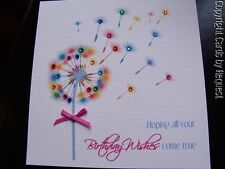 Handmade Personalised Birthday Card with Gems and Bow - Dandelion Blow Ball