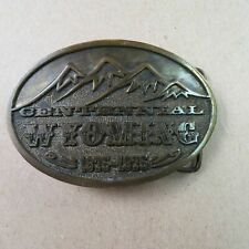 Wyoming State Centennial 1875-1975 Adezy Brass Belt Buckle