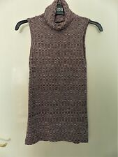 Kylie at M & CO Girls Sleeveless Ribbed Polo Neck Top in Burgundy Mix Size 11-12