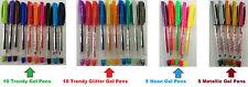 60 x Gel Pens Shine Sparkled GLITTER METALLIC NEON ASSORTED COLOUR COLOR