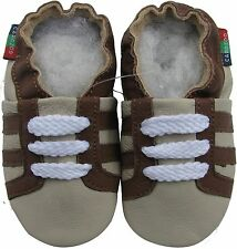 shoeszoo sports brown grey 12-18m S soft sole leather baby shoes
