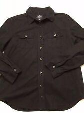 American Eagle Men's Long Sleeve L/S Button Shirt Black Chamois Flannel XL