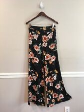 Nasty Gal Saint Genies Floral Wide Leg Pants Trousers Black Size US 4 NWT