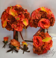 17 Piece Package Wedding Bridal Bouquet Silk Flowers Set BURNT ORANGE FALL BROWN