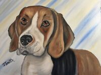 Original oil painting artwork sweet beagle dog 11 x 14 signed canvas