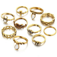 10-Piece Midi Ring Set, Golden Knuckle Pinkie Rings - Bohemian, Boho Jewelry