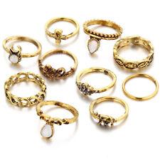 10-Piece Midi Ring Set, Golden Knuckle Pinkie Rings - Bohemian, Boho Jewelry