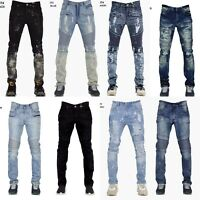 Men's Denim Ripped Destroyed Slim Fit Biker Jeans