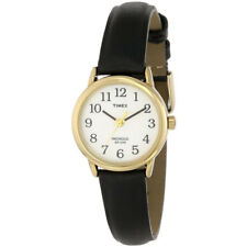 Timex Womens Wrist Watch Easy Reader Black Leather Strap Band, Gold Case