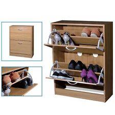 Wooden 2 Drawer Natural Shoe Storage Cabinet Footwear Stand Rack Unit Cupboard