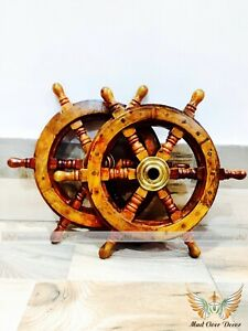 "Set Of 2 12"" Ship Steering Wheel Wood Brass Nautical Decor Pirate Captain Helm"