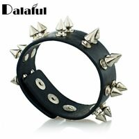 Spiked Leather Bangle Bracelet Wide Cuff Gothic Cone Stud Spikes Rock Punk Men