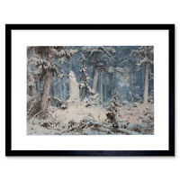 Painting Landscape Arboreal Achenbach Snowy Forest Framed Art Print 12x16 Inch