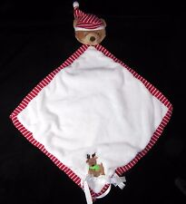 Baby Ganz Red White Bear Reindeer Christmas Security Blanket Lovey Stripes