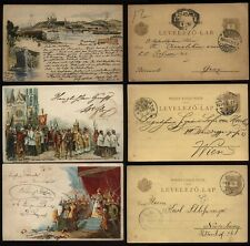 More details for 1898-99 hungary three used coloured pictorial postal stationery cards