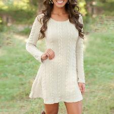 Womens Ladies Knitted Sweater Jumper Mini Dress Knitwear Winter Long Sleeve Tops