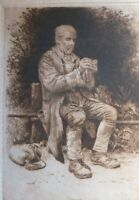 Original Print Old Antique Etching of a Man, signed