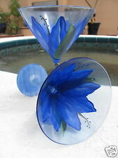Hand Painted Blue Glass Martini/Wine/Drink Glasses - Tropical Flower Design -NEW