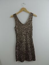 New Women's Amber Blue Gold Sequin Vneck Dress Size Medium NWT