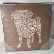 "PUG DOG WORD WALL ART GICLEE PAINTING ON CANVAS STELLA BRADLEY 15""X15"""