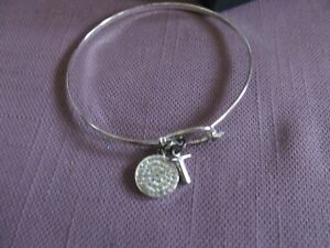 Silver Plated Bangle Bracelet Genuine Crystal w/ Cross Hook & Eye