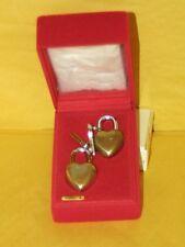 "Vintagse 80's Brass Lovelock 1 7/8"" Heart Shaped Padlock Set  2 with 2 Keys NOS"