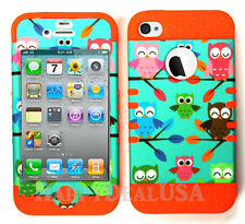 KoolKase Hybrid Impact Silicone Cover Case for Apple iPhone 4 4S - Baby Owls 00