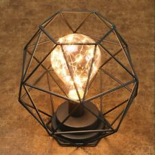 "Table Desk Accent Lamp - Wire Polygon Sculpture LED Light - 12"" Battery Powered"