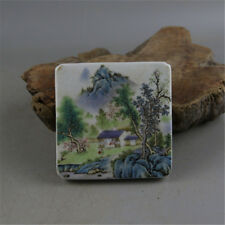 Chinese Old Famille Rose Colored Landscape View Pattern Porcelain Inkpad Box