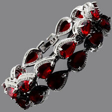Fashion Pear Cut Red Ruby White Gold Plated Tennis Bracelet