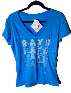 Majestic Athletic Women's Tampa Bay Rays Game Defining T-Shirt LARGE BLUE