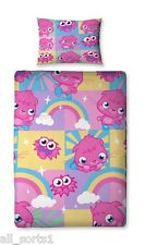 SINGLE BED DUVET COVER SET MOSHI MONSTERS PINK / BLUE / LILAC / YELLOW / GREEN