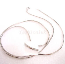 Men Unisex White Gold Plated Small Chain Necklace Birthday Xmas Snake Rope 45cm