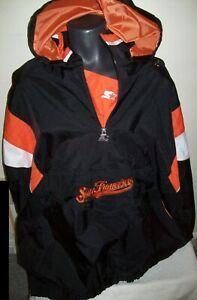 SAN FRANCISCO GIANTS Starter Half Zip Pullover Jacket BLACK 3X 4X