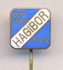 antique SPORT Club HAGIBOR PRAGUE Pin Badge JEWISH SOCCER Football Judaic