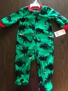 Carter's Santa Dinosaur Fleece Footed Pajamas 3 Months & 6 Months