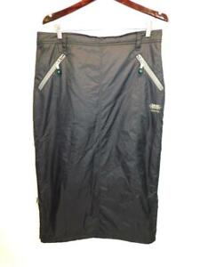 Skhoop L Black Down Skirt Midi Winter Insulated Side Zippers Pockets Straight