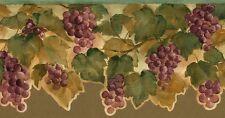 Kitchen Cutout Wallpaper Border Grapes Leaves Purple Red Green Beige UK ZWl0183B