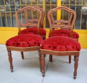 4 sedie Napoleone III metà '800 mogano e velluto