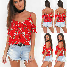 Womens Floral T-Shirt Cold Shoulder Strappy Top Ladies Summer Beach Tops Blouse