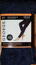 NEW! GEORGE SEAMLESS LEGGINGS BLACK/BLUE ~SIZE S/M~100-150 LBS~4'10-5'11''