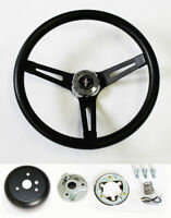 """1970-1977 Mustang Black on Black Steering Wheel 13 1/2"""" Mustang cap Horn Kit"""