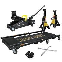 Trolley Jack 2 Ton Kit Floor Jack Stands Mechanic Creeper Lug Wrench Chocks Pair