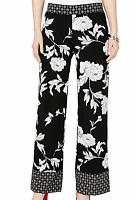 INC New Women's XL Black & White Floral Wide Leg Stretch Dress Pants $69 NWT