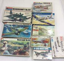 Lot of 9Military WWII Plane Model Kits Various Scales & MFG