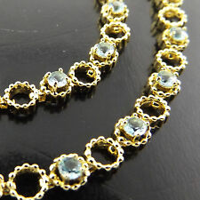 A368 GENUINE REAL 18K YELLOW GF GOLD LADIES BLUE TOPAZ ANTIQUE BRACELET BANGLE